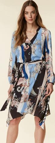 Black Paisley Scarf Print Shirt Dress