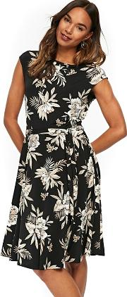 Black Palm Print Fit And Flare Dress