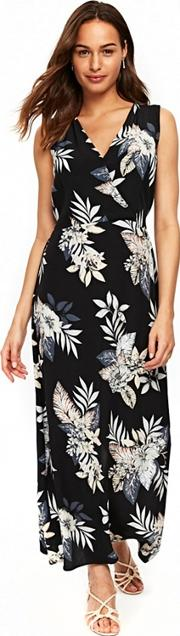 Black Palm Print Maxi Dress