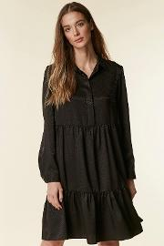 Black Tiered Shirt Dress