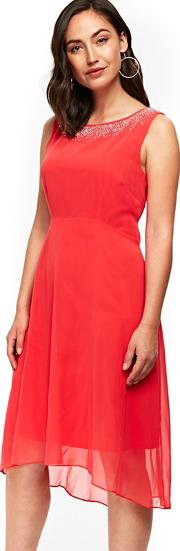 Coral Hotfix Neck Detail Asymmetric Dress