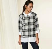 Grey Check 2 In 1 Top