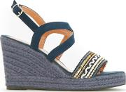 Navy Embellished Vamp Raffia Wedge