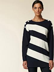 Navy Geometric Striped Button Jumper