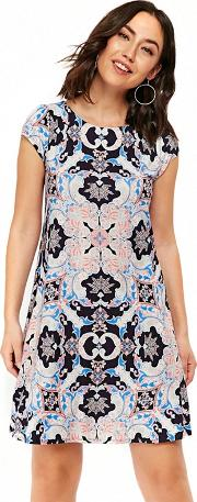 Navy Paisley Print Shift Dress
