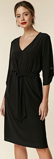 Petite Black Tie Waist Dress