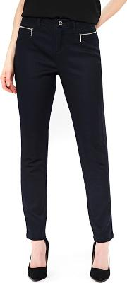 Petite Navy Fly Front Trousers