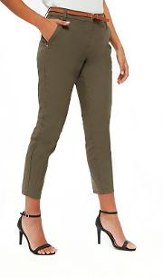 Petites Khaki Belted Trousers