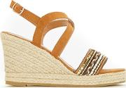 Tan Embellished Vamp Raffia Wedge