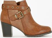 Tan Eyelet Strap Buckle Boots