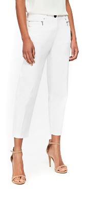 White Zip Pocket Cropped Trousers