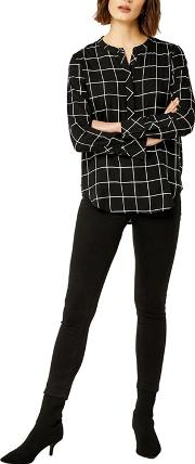 Mono Check Button Side Blouse