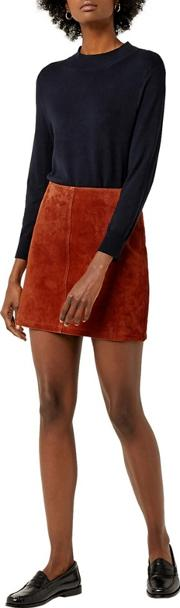Seam Detail Leather Pelmet Skirt