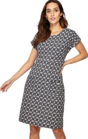 Black Printed Jersey Knee Length Shift Dress