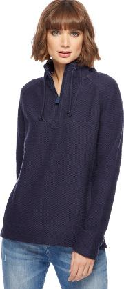 Navy Knitted Zip Funnel Neck Sweater