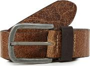 Big And Tall Brown Leather Textured Belt