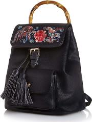 Black Bamboo Detail Embroidered Backpack