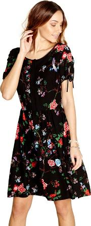 Black Floral Print anahya Day Dress