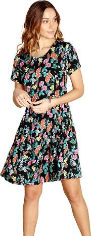 Black Floral Print luba Round Neck Skater Dress