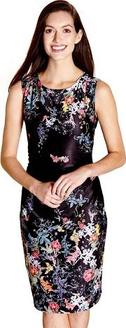 Black Floral Print merry Ruched Jersey Dress
