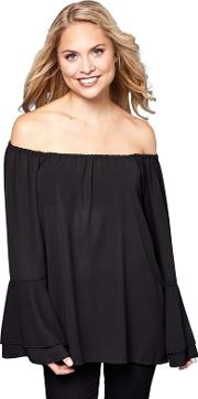 Black Fluted Sleeve Gypsy Top