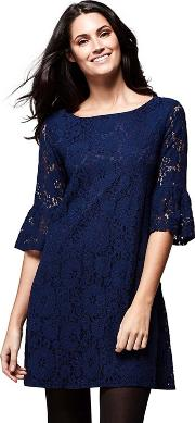 Blue Flared Sleeve Lace carly Mini Tunic