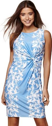 Blue Floral Gathered Bodycon Dress