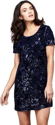 Blue Floral Print naima Sequined Party Tunic Dress