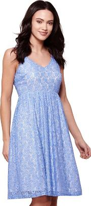 Blue Strappy Lace Occasion Dress