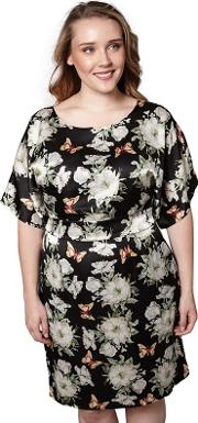 Black Floral And Butterfly Shift Dress