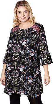 Black Floral Bell Sleeves Tunic Dress