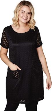 Black Laced Chevron lisa  Mini Tunic Dress