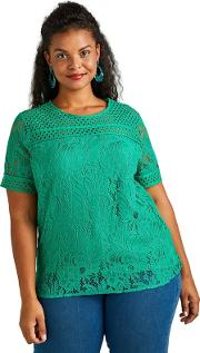 Green Lace Detail Top