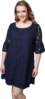 Navy Blue Floral Print elouisea Flute Sleeves Tunic Dress