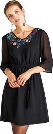 Flower Embroidered Dress With Tie Waist