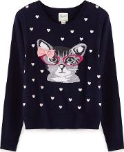 Blue Cat Knitted Jumper
