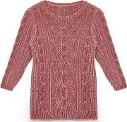 Girls Pale Pink Cable Knit Chenille Jumper