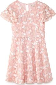 e3a7e59a Girls Pink Butterfly Pattern Mesh Skater Dress. yumi girl