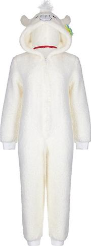 White Llama Onesie With Colourful Tassels