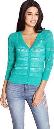 Green Pointelle Stitched Cardigan