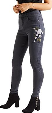 Grey Floral Embroidered Skinny Jeans