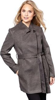 Grey High Neck Belted Wrap Coat