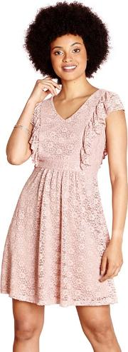 Light Pink Lace azra Dress With Ruffle Sleeves