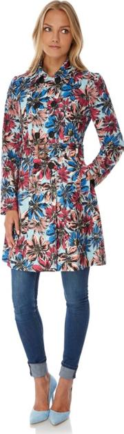 Multicoloured Floral Print Trench Coat