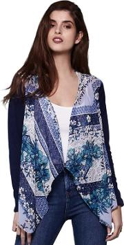 Multicoloured Floral Waterfall Cardigan