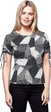 Multicoloured Ruched Spotted Top