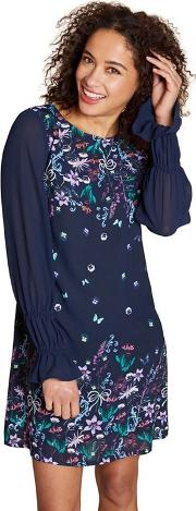 Navy Mirrored paulina Floral Print Tunic Dress