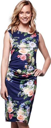 Navy Ruched Bodycon Dress