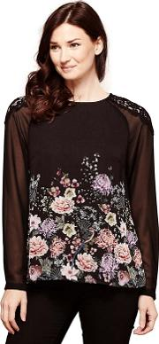 Oriental Blouse With Lace Shoulders