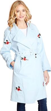 Pale Blue Floral Embroidery Trench Coat